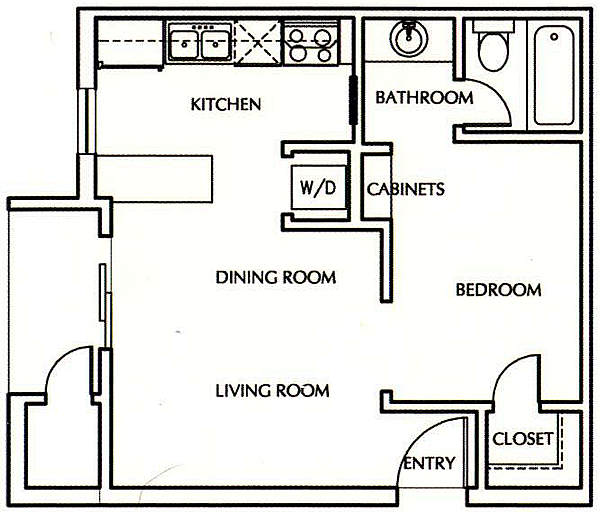 E1 Efficiency One Bedroom / One Bath - 450 Sq. Ft.*