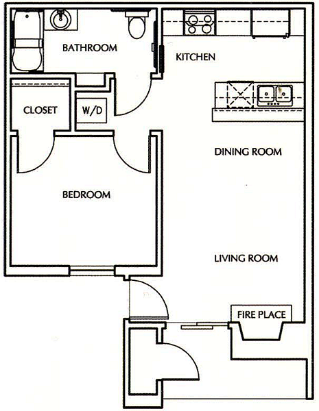 A1 - One Bedroom / One Bath - 550 Sq. Ft.*
