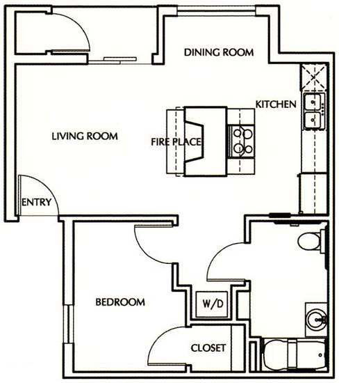 A2 - One Bedroom / One Bath - 550 Sq. Ft.*