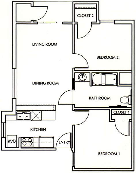 B1 - Two Bedroom / One Bath - 650 Sq. Ft.*
