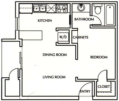 Efficiency 1 Bed / 1 Bed - 450 Sq.Ft.*