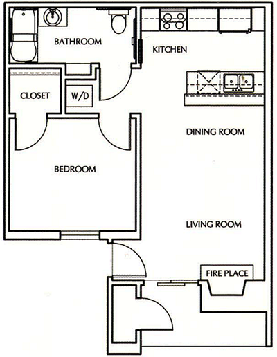 One Bedroom / One Bath 550 Sq. Ft.*