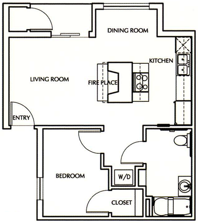 One Bedroom / One Bath - 550 Sq. Ft.*