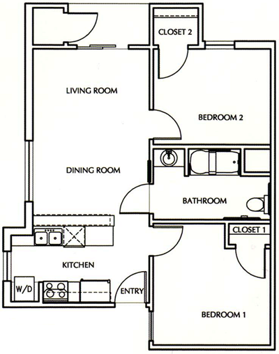 Two Bedroom / One Bath - 650 Sq. Ft.*