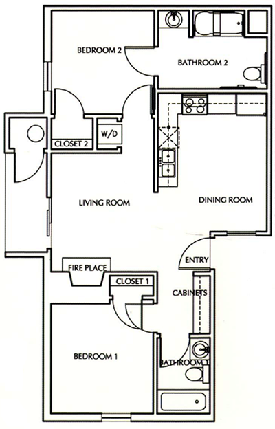 B3 - Two Bedroom / Two Bath - 750 Sq. Ft.*